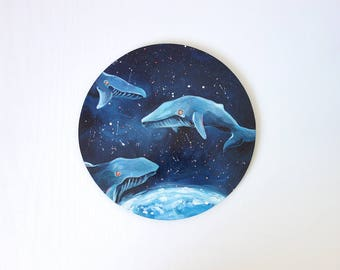 Whales - surreal painting, fantasy art