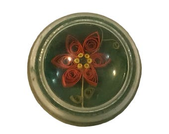 Folk Art Paperweight Glass Dome with Paper Flower