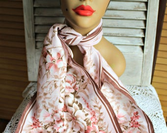 Vintage. Silky. Floral. Pink/brown. Long/Scarf. Made in Italy. Beautiful flowers! 1960s.
