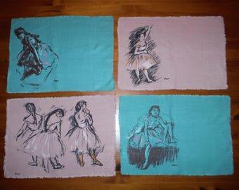7 Vintage 1950's Ballet Ballerina Linens - Degas Dusty Pink Green Ballerinas Linen Fabric - Edgar Degas Vintage Ballet Dancers Placemats