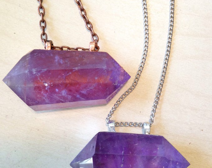 Amethyst Double Terminated Wand Necklace, Rose Gold Amethyst Necklace, Silver Amethyst Necklace