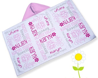 Personalized Hooded Towel - Baby or Toddler Hooded Bath Towel with Name & Monogram - Custom Toddler Beach Towel - Baby Shower Gift for Girls