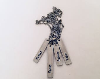 Hand stamped Mothers Necklace with Personalized Name Tags for Each Child
