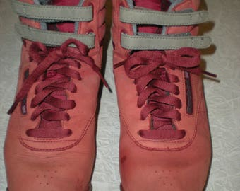 Vintage 1980's Red & Gray Freestyle Reebok Classic High Tops Size 8.5