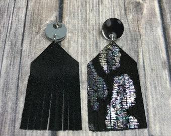 Black leather cheetah fringe earrings