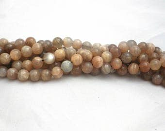 8mm Moonstone (Grey) Round Beads
