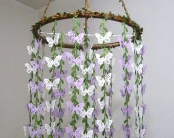 Butterfly Mobile,Crib Mobile,Girl,Boy,Woodland,Wedding Chandelier,Nursery Mobile,Bridal Baby Shower decor,Hanging Butterfly,Purple,Lavender