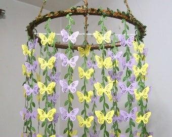 Butterfly Mobile,Nursery,Baby Mobile Girl,Boy,Hanging Crib Mobile,Woodland,Paper,Baby Shower decor,Birthday Gift,Wedding Chandelier,Purple