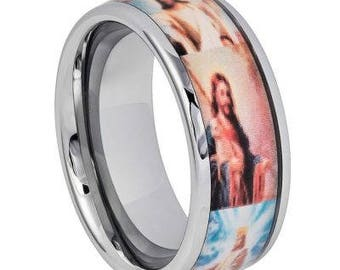 Domed High Polished with Crucifixion & Resurrection Depiction Inlay – 8mm