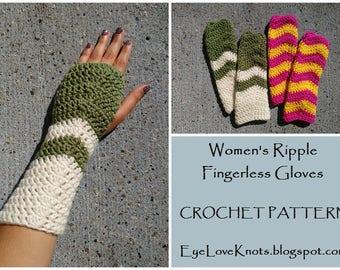 CROCHET PATTERN - Women's Ripple Fingerless Gloves, Crochet Ripple Pattern, Crochet Fingerless Gloves, Glove Crochet Pattern