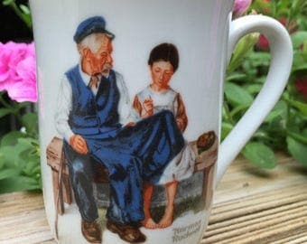 SALE Mug Norman Rockwell Cup Lighthouse Keepers Daughter Seal of Authenticity Never Used Only Displayed Japan