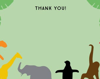 Boys Zoo Themed Birthday Thank You Card - Printable (Jungle / Animals / Safari)