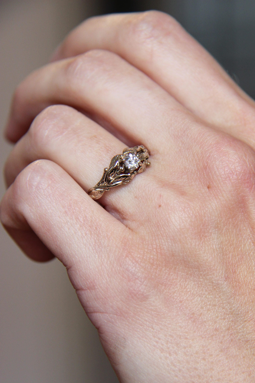 White gold engagement ring, custom engagement ring, diamond ring ...