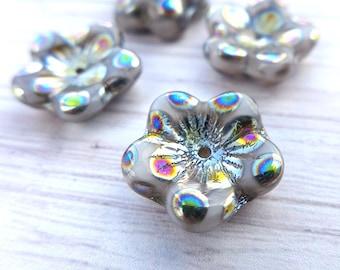 Flower beads, Czech glass beads - 16mm - 4pcs