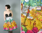 50s NOVELTY skirt in vivid EXOTIC beach landscape with PALM trees boats and people  Hawaiian  tiki rockabilly full skirt  S  26 waist