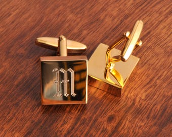 Personalized High Polish Engraved Brass Cufflinks - Groomsmen Gifts - Engraved Cufflinks - Gifts for Him - Gift for Men - Cufflinks - GC260