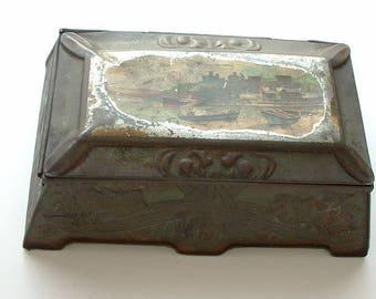 Vintage Art Nouveau tin