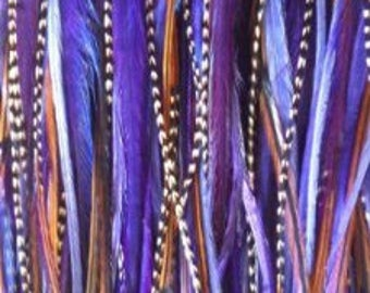 """7""""-10"""" Dark Purple and Natural Brown 5 Feathers"""