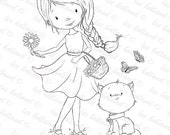 Girl with kitten .