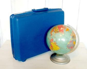 Bright Blue Medium-Sized Suitcase, Samsonite Concord, Hard Shell Sided, Storage Solution, Clean Interior, 1980s, Divider, lindafrenchgallery