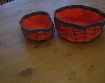Halloween decoration baskets with spiderwebs