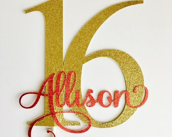 Sweet sixteen cake topper - gold  - 16th cake topper - 16th birthday #72421017