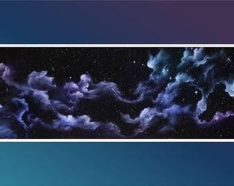 "Original 10x30"" Oil Painting - Rainbow Wisps Nebula Wall Art"