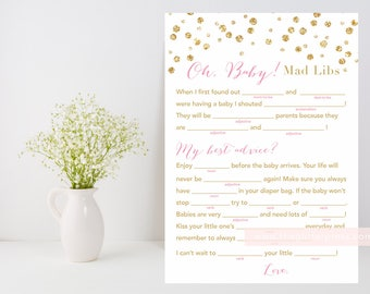 Baby Shower Mad Libs, oh baby mad libs printable game, pink gold confetti baby shower game, baby fill in the blank, INSTANT DOWNLOAD 008