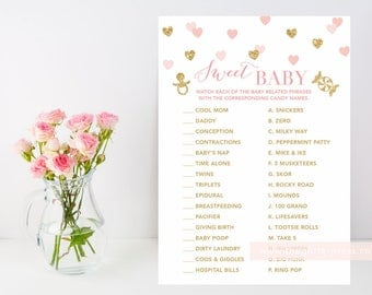 Sweet Baby Candy Game printable, How sweet it is, Pregnancy Candy match, blush and gold heart baby shower, confetti, INSTANT DOWNLOAD 015