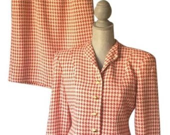 Early 90's Christian Dior  Houndstooth Skirt Suit
