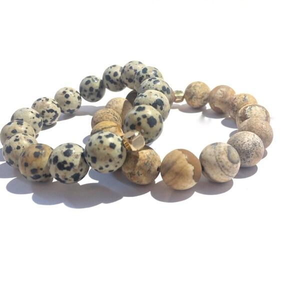 Jumbo beaded Stress Relief Stack: Dalmation and Brown Paper Jasper Bracelets, Mens, Women, Unisex, Gemstones, Mala, Yoga, Meditation, 12mm