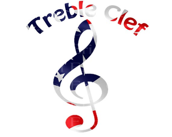 Treble Clef Band Music Notes Patriotic Birthday - Edible Cake and Cupcake Topper For Birthday's and Parties! - D22711