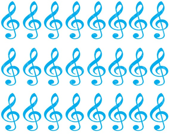 Blue Music Band Notes Birthday - Designer Strips - Edible Cake Side Toppers- Decorate The Sides of Your Cake! - D22695