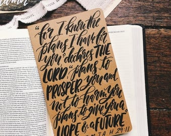 ON SALE Jeremiah 29:11 prayer journal, Father's day gift, hand lettered on Moleskine notebook, scripture gift, hope and a future