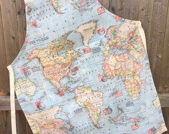 World map fabric etsy handmade cotton apron world map fabric gumiabroncs Choice Image