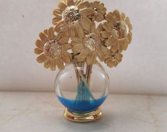 Vintage A.J.C Floral Flower Vase Brooch Pin