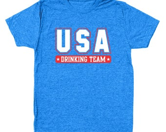 Usa Drinking Team Party Humor 4Th Of July Merica Men's Tri-Blend T-Shirt DT1177