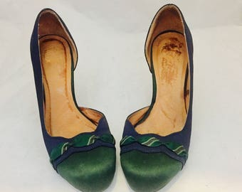 Satin Slip On Pumps Heels Shoes 7B 37 by Lucky Penny Anthropologie Pin Up