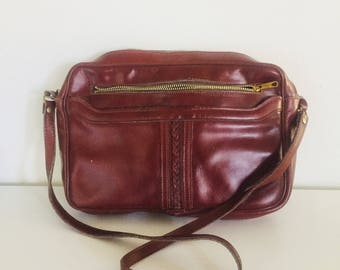 70s Oxblood Leather Hand Bag Shoulder Bag Purse