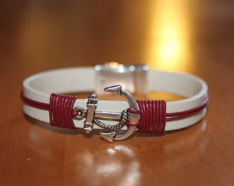 magnetic leather bracelet red and white with anchor clasp