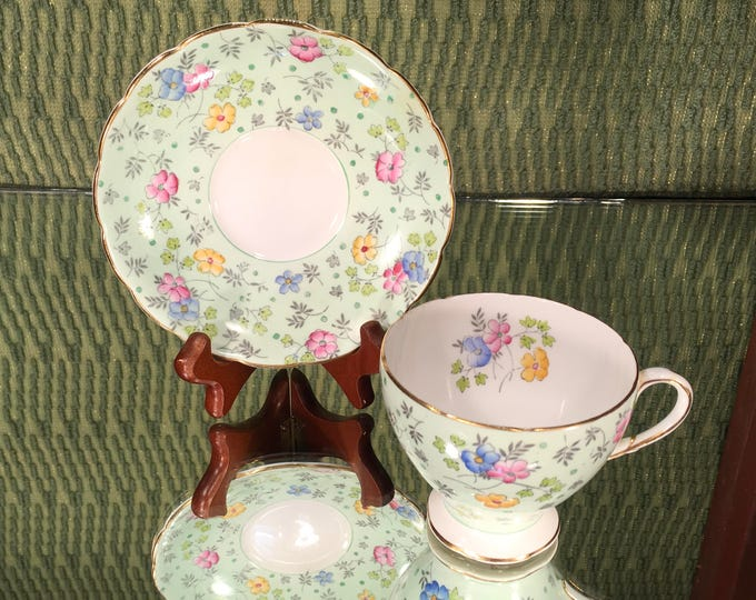 EB Foley Chintz Pattern Tea Cup and Saucer Set, Mint Green Floral, Made in England