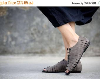 CIJ SALE Grey Leather Sandals, Lace Sandals, Summer Flats, Handmade Sandals, Grey Sandals, Summer Shoes, Tie Sandals, Strappy Sandals, Talul