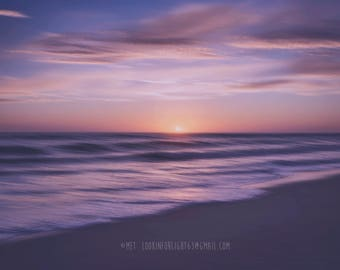 Dreamy Beach Photo | Surreal Ocean Tide | Violet Ocean Sunset | Leo Carillo State Park | Malibu Beach | Abstract Ocean | Pacific Ocean Waves