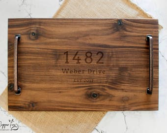 Personalized Serving Tray - Solid Walnut Wood - Wood Serving Tray - Wooden Serving Tray - Personalized Serving Platter - 040RE