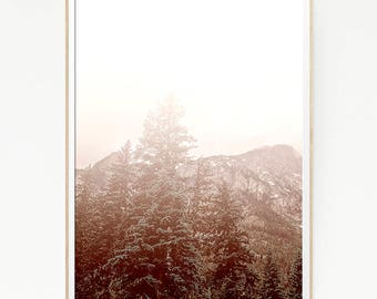 Pine Trees Mountains Print Poster Forest Wall Decor Nordic Art Scandinavian Monochrome Nature Wilderness Minimalist Snow Wild Pink 1055
