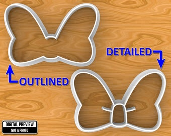 Minnie Mouse Bow Knot Cookie Cutter, Detailed Or Outlined, Selectable sizes.