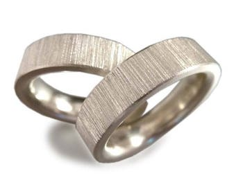 Friendship rings forged in sterling silver,  wedding rings, wedding ring set, partner rings, wedding, recycling - handmade by SILVERLOUNGE