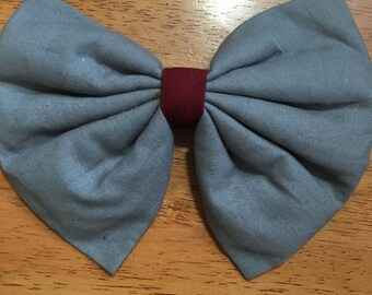 Gray and Maroon Alligator Clip Hair bow 6 inches