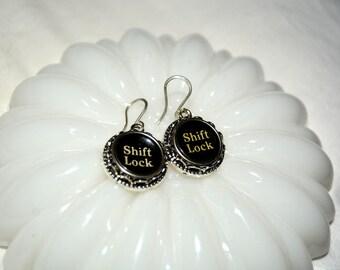 Typewriter Key Earrings, Shift Lock Keys, Art Deco-Steampunk Style Earrings, Typography Jewelry.