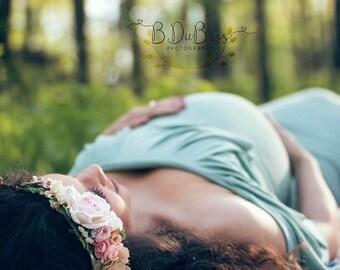 Blush, Ivory & Gold Flower Crown - Maternity Flower Crown - Photo Prop - Bridal Flower Halo - Blush Hair Wreath -Pink Wedding Flower Crown